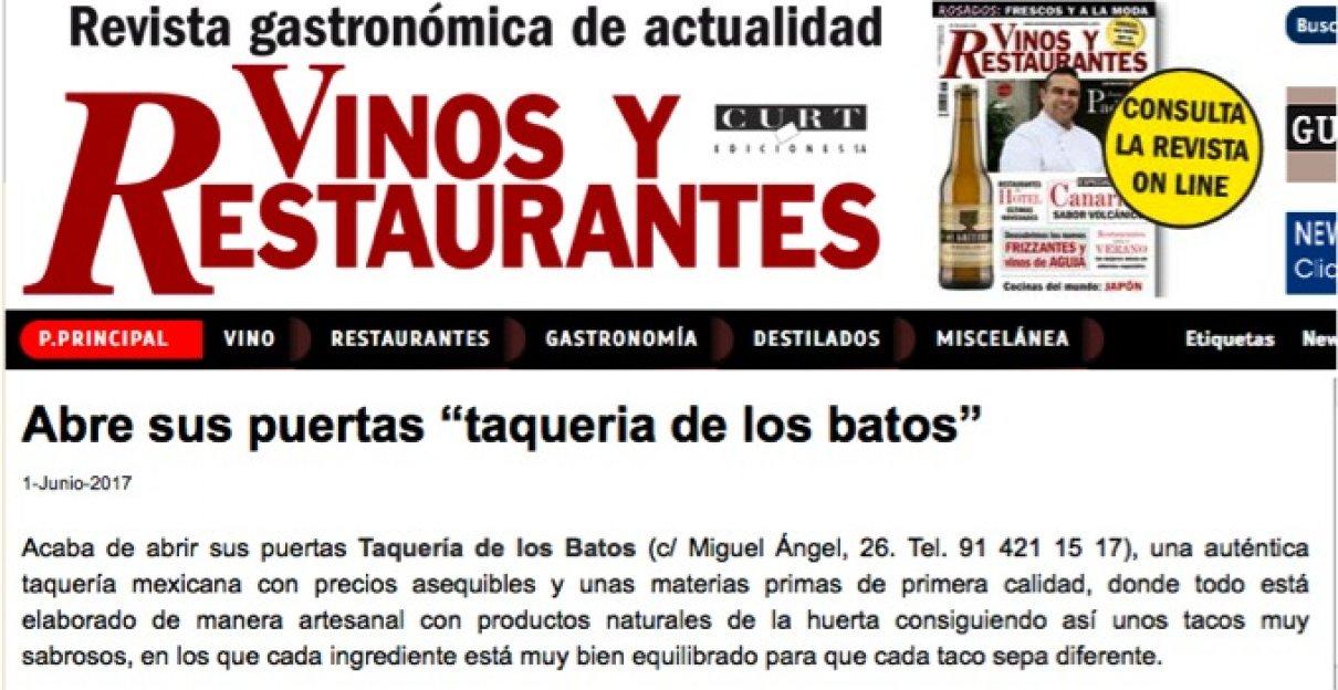En la revista Vinos y Restaurantes